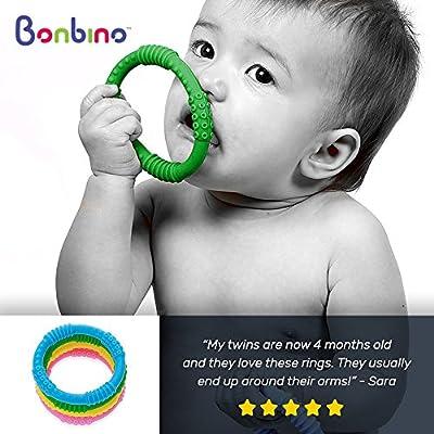Bonbino Silicone Sensory Teething Rings 4pk