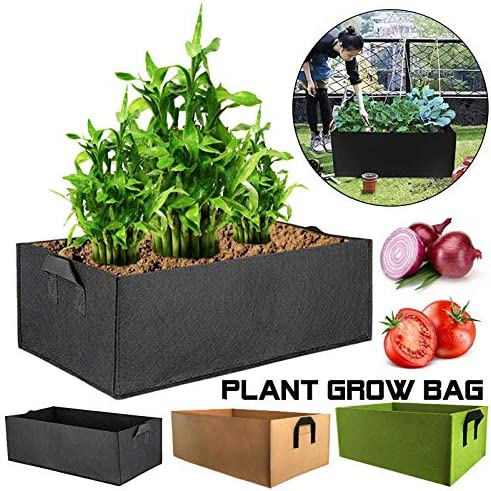 Mingfuxin - Juego de 3 camas de tela elevada para jardín, cuadradas, flores, plantas y patatas, macetas con asas para plantas, flores, verduras: Amazon.es: Jardín