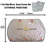 Hippo Magnetic Car Windshield Sunshade&Snow Cover with UV Rays,Ice,Frost Proof Full Protection - Standard Sun Visor Keep Vehicle Cool - Fit for Most Vehicle with Size 74.86'' ×49.25''(Sliver)