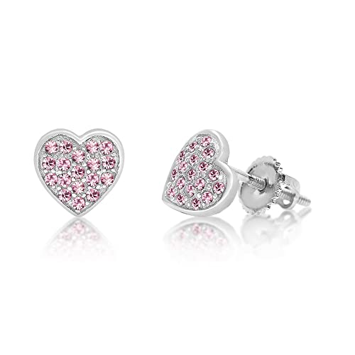 5a38064a84600 Chanteur Kids Baby Girl Earrings With Swarovski Elements 925 Sterling,  White Gold Tone