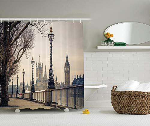 (Ambesonne London Decor Collection, View of Big Ben and Houses of Parliament from the Riverside with Retro Street Lights Picture, Polyester Fabric Bathroom Shower Curtain, Grey Ivory Navy)