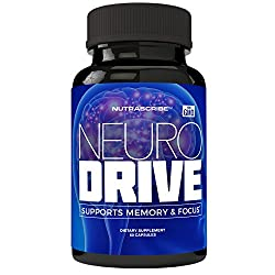 Neurodrive Premium Brain Health & Focus Supplement, Memory & Mental Clarity Support - Natural Nootropic Brain Function Supplements - Help Boost Concentration & Alertness - Mental Energy Booster
