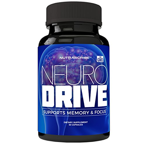 NeuroDrive Premium Brain Health and Focus Supplement, Memory and Mental Clarity Support – Natural Nootropic Brain Function Supplements – Help Boost Concentration and Alertness – Mental Energy Booster
