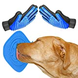 Dog Grooming Glove, PetDeshedding Brush Glove,Dog Fur Brush Bathing Massage Mitt(1 Pair)+Lick Lick Pad Dog Bath Distraction Device Combination For Funny and Easy Shower.