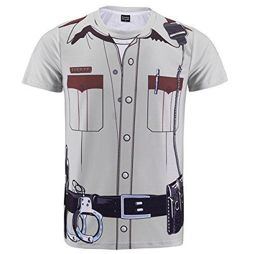 [Funny World Men's Police Uniform Costume T-Shirts (L)] (Funny Uniform Costumes)
