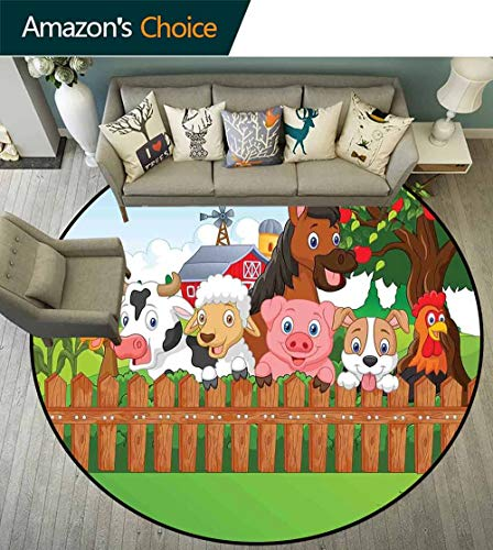 Cartoon Round Rug Grip,Cute Farm Animals on The Fence Comic Mascots with Dog Cow Horse for Kids Decor Super Cozy,Multi,D-43
