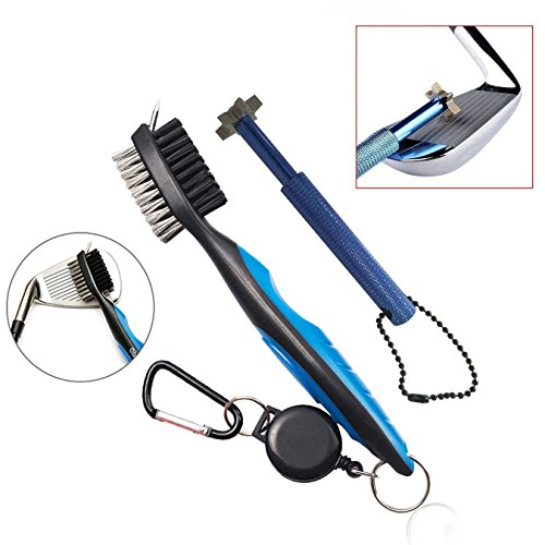 Xintan Tiger Golf Tool Set -Retractable Golf Club Brush and 6 Heads Golf Club Groove Sharpener.Perfect Gift for Golfers-Practical Sharp and Clean Kits For All Golf Irons