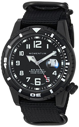Men's Sports Watch | M50 Nylon Dive Watch by Momentum | Stainless Steel Watches for Men | Sapphire Crystal Analog Watch with Japanese Movement | Water Resistant (500M/1650FT) Classic Watch - Black / 1M-DV54B7B