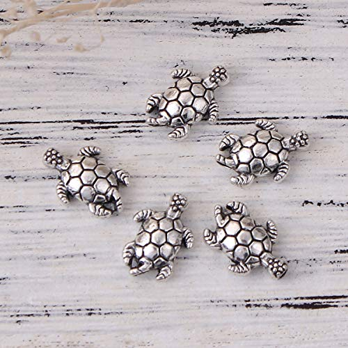 """PEPPERLONELY 100pc Antiqued Silver Alloy Metal Tortoise Animal Charms Pendants 13 x9mm(4/8"""" x 3/8"""")"""