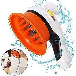 SlowTon Pet Shower Head, Dog Horse Comb Scrubber Teeth Grooming Brush Massage Bathing Tool, Universal Anti-Slip Water Saving Hand Held Faucet Sprayer for Indoor Outdoor Garden Use (Shower Head)