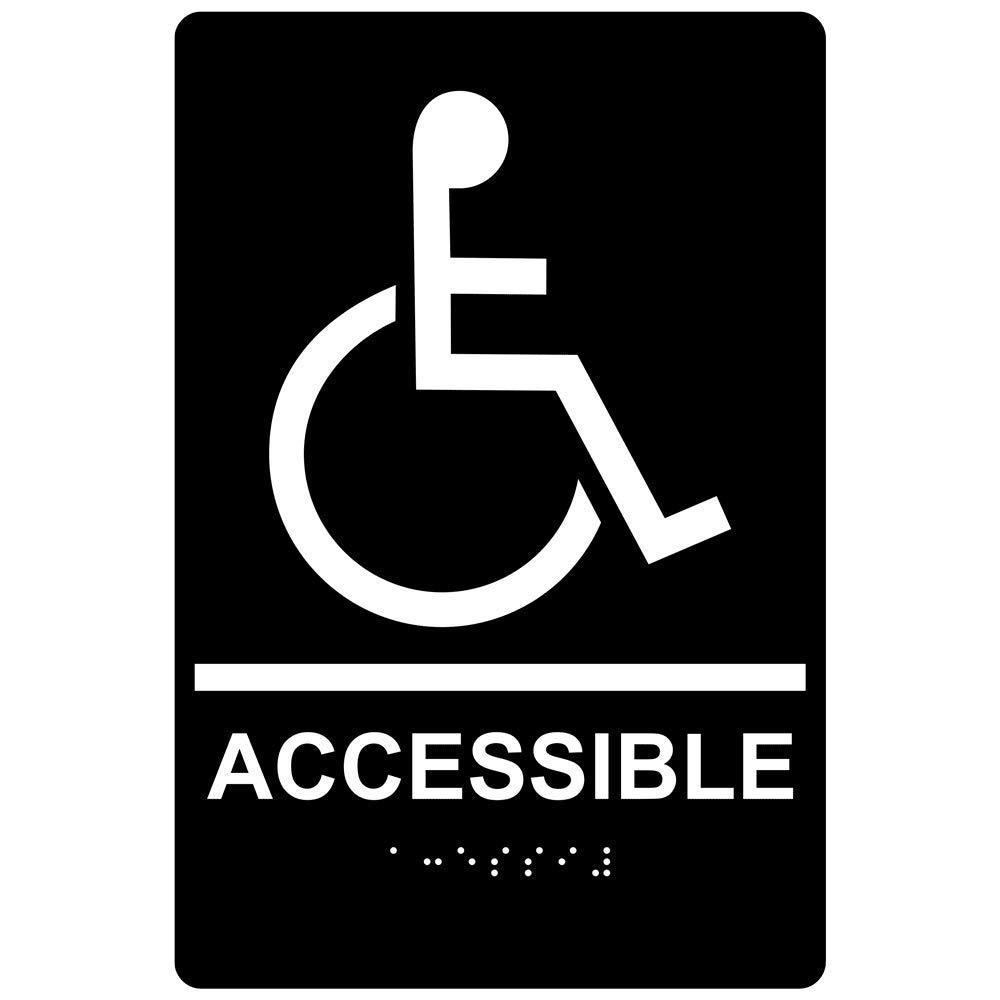 Accessible Sign, ADA-Compliant Braille and Raised Letters, 9x6 in. White on Black Acrylic with Adhesive Mounting Strips by ComplianceSigns by ComplianceSigns