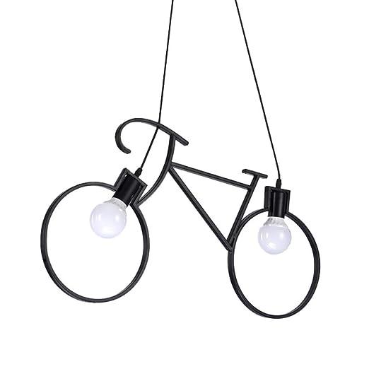 DE_ZHAO Creativa Bicicleta Colgar Lámpara Restaurante Arte ...