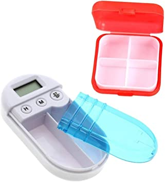 Caja de Pastillas 2PCS temporizador de caja de píldora digital electrónico caja de medicina inteligente portátil y 4 rejillas recordatorio de caja de píldora: Amazon.es: Salud y cuidado personal