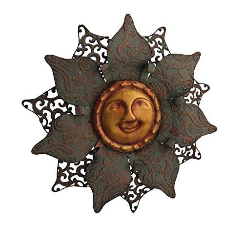 Zeckos Two Tone Celestial Sun Flower Metal Wall Sculpture