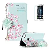 Huawei P10 Lite Case,Funyye Fashion [Portable Chain] Phone Case Elegant Floral Lady Handbag Design Folio PU Leather Wallet Book Type Shockproof Protection Case for Huawei P10 Lite-Cherry blossoms