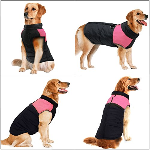 Didog Cold Weather Dog Warm Vest Jacket Coat,Pet Winter Clothes for Small Medium Large Dogs,8, Pink,4XL Size by Didog (Image #1)