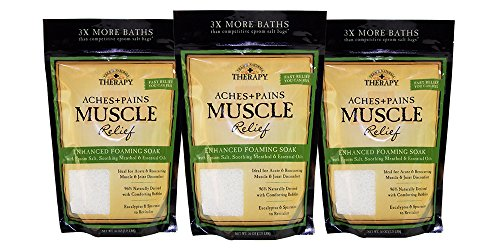 Village Naturals Therapy, Foaming Epsom Soak, Aches & Pains Muscle Relief, 36 oz, Pack of - Salts Mineral Soak Natural