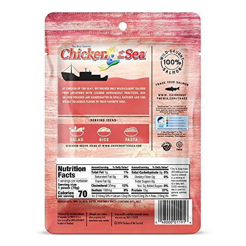 Chicken of the Sea Pink Salmon, Single Serve Pouch, 2.5 oz