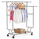 bestfurnitures Collapsible Double Rail Commercial Grade Clothing Rack
