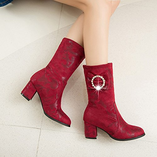 Easemax Womens Trendy Pleated Round Toe Mid Chunky Heel Ankle Boots Red OiPuj