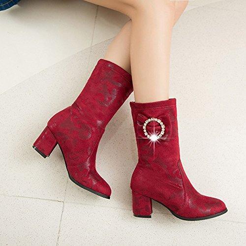 Easemax Kvinna Trendiga Veckade Rund Tå Mitten Chunky Klack Boots Röd
