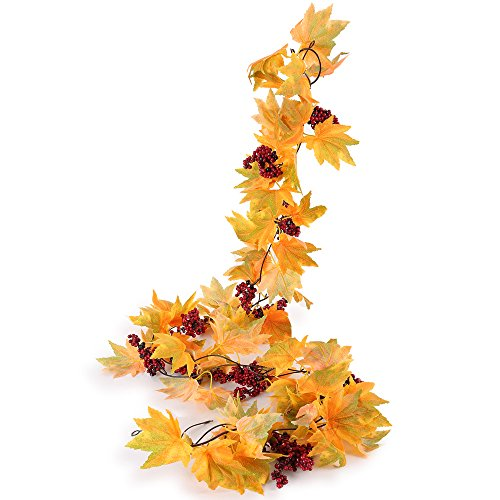 Fall Vine (Greentime 2 Pcs Artificial Flowers 6.6ft/pc Autumn Vines With Mine Simulation Christmas Berry Fall Maple Leaves Garland for Thanksgiving Day Christmas Indoor Outdoor Wall Decoration,Yellow)