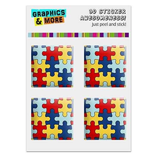 Graphics and More Autism Awareness Diversity Puzzle Pieces Computer Case Modding Badge Emblem Resin-Topped 1