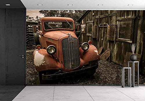 wall26 - Jerome Arizona Ghost Town Mine and Red Old Truck Car - Removable Wall Mural | Self-adhesive Large Wallpaper - 100x144 (Cars Removable Wall)