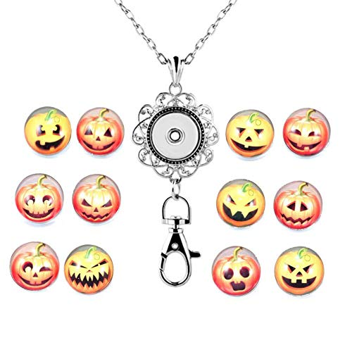 DH Love Halloween Masquerade Mask Snap Button Charms ID Card Badge Holder Office Lanyards with Snap Charms Keychain (Pumpkin)