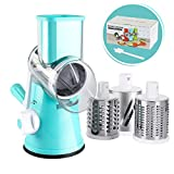 Valuetools Manual Rotary Cheese Grater - Round Mandoline Slicer Cheese Shredder Vegetable Slicer, Tumbling Box Shredder with Strong Suction Base With FDA Certification