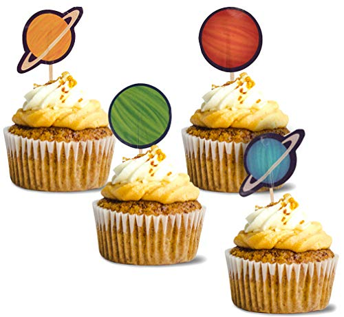 Space Cupcake Toppers - 200-Pack Cupcake Decoration, Outer Space Themed Party Supplies, 4 Planet Designs Cake Picks, Dessert, Sandwich Decoration, 1.2 x 3 Inches for $<!--$8.99-->