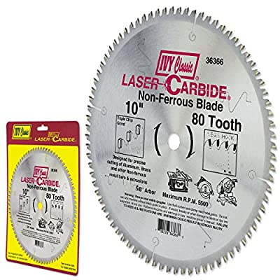 IVY Classic 36366 Laser Carbide 10-Inch 80 Tooth Non-Ferrous Cutting Circular Saw Blade with 5/8-Inch Arbor, 1/Card