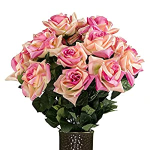 Beauty Diamond Rose Artificial Bouquet, featuring the Stay-In-The-Vase Design(c) Flower Holder (MD1344) 23