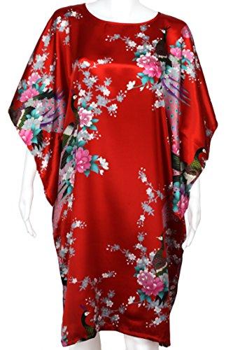 Diseño de flores retro de para mujer de pavo real y - raso - de novia Chemsie noche camiseta Rosso