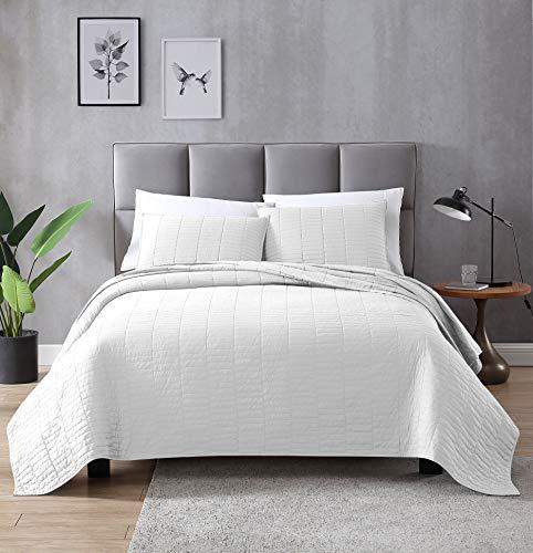 EXQ Home Quilt Set Full/Queen Size White 3 Piece,Lightweight Hypoallergenic Microfiber Coverlet Modern Style Stitched Quilt Pattern Bedspread Set