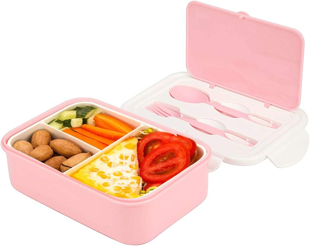 G.a HOMEFAVOR Plastic Lunch Food Container with Tableware Set Design, 1400ML Large Leakproof Bento Box Lunch Container with 3 Compartments for Kids or Adults-Dishwasher Safe(Pink)