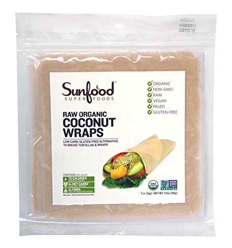 Sunfood Coconut Wraps, Organic, Raw, Vegan, Paleo, 7ct