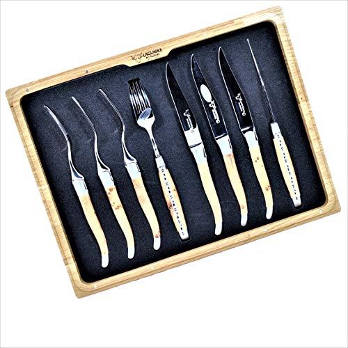 Laguiole en Aubrac Handmade 4 Forks And 4 Knives Set Juniper Wood Handle