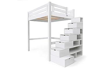 Abc Meubles Lit Mezzanine Alpage Bois Escalier Cube