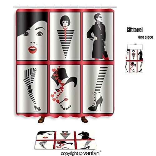 Female Pop Star Costume Ideas (vanfan bath sets with Polyester rugs and shower curtain group portraits of fashion women in style pop shower curtains sets bathroom 69 x 84 inches&31.5 x 19.7 inches(Free 1 towel and 12 hooks))