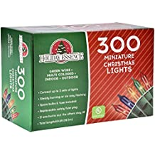 Holiday Essence 300 Multi-Color Christmas Lights, with Green Wire – Professional Grade for Indoor/Outdoor Use – Static + Flashing