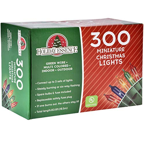 Holiday Essence 300 Multi-Color Christmas Lights, with Green Wire - Professional Grade for Indoor/Outdoor Use - Static + Flashing