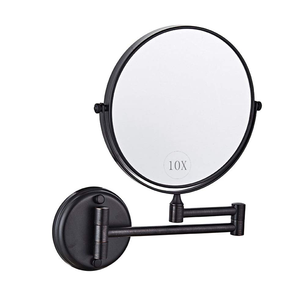 Aokako Makeup Mirror Wall Mount for Bathroom, 8 Inch Cosmetic Vanity Mirror with Magnification for Bathroom Hotel, Two Sided Face Mirror(Matt Black),10x