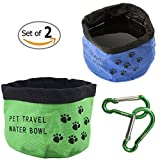 Travel Pet Bowl, CROMI Oxford Fabric Portable Folding Collapsible 2 Pack Food Water Bowl Cup for Dogs & Cats (Green / Blue)