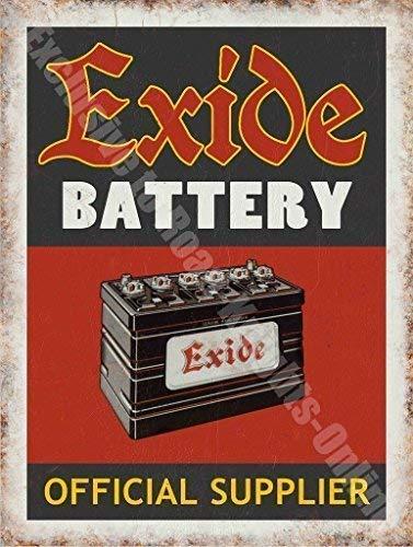 Exide Batería Oficial Proveedor Garaje Vintage Anuncio Metal ...