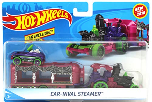 Hot Wheels 2018 Halloween Spooky Car-Nival Steamer Vehicle w/ Detachable Trailer & Pedal Car