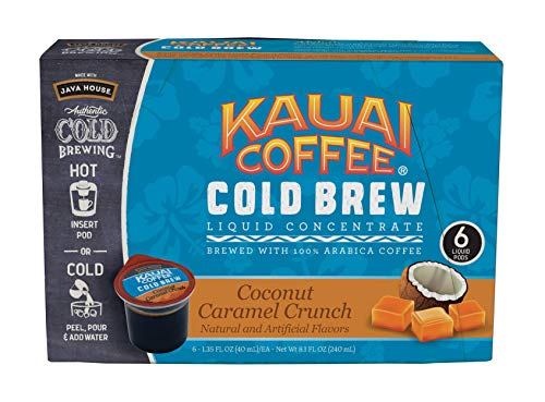 (JAVA HOUSE Authentic Cold Brew Coffee Kauai Coconut Caramel Crunch K-Cup Coffee Pods (6 Count) Serve Hot or Cold)