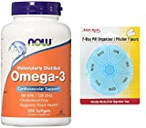 Ahora alimentos OMEGA-3 FISH Oil-aceite 200 cápsulas con gratis 7 días plástico píldora organizadores
