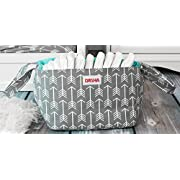 Diaper Storage Caddy By Danha – Portable Diaper Bag And Stacker With Beautiful Gray Arrow Unisex Design – Changing Table Storage Basket And Nappy Caddy