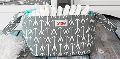 ArtMuseKitsMikash Diaper Storage Caddy by Danha - Portable Diaper Bag and Stacker with Beautiful Gray Arrow Unisex Design - Changing Table Storage Basket and Nappy Caddy (Teal Arrows Diaper Bag)